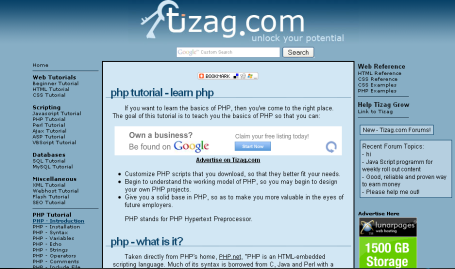PHP tutorials at tizag.com